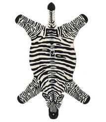 Zebra Dywan 100X155 Nowoczesny Czarny/Beżowy (Wełna, Indie)