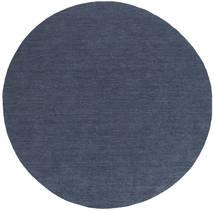 Kilim Loom - Denim Niebieski Dywan Ø 200 Nowoczesny Tkany Ręcznie Okrągły Niebieski (Wełna, Indie)
