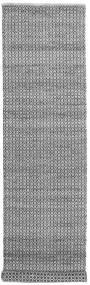 Alva - Szary/Czarny Dywan 80X350 Nowoczesny Tkany Ręcznie Chodnik Jasnoszary/Ciemnobrązowy/Ciemnoszary (Wełna, Indie)