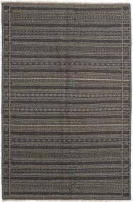 Kilim Dywan 155X236 Orientalny Tkany Ręcznie Ciemnoszary/Czarny/Jasnoszary (Wełna, Persja/Iran)