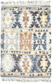 Märta - Niebieski Dywan 120X180 Nowoczesny Tkany Ręcznie Beżowy/Jasnoszary (Wełna, Indie)