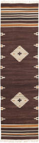 Tribal - Brunatny Dywan 80X300 Nowoczesny Tkany Ręcznie Chodnik Ciemnobrązowy/Beżowy (Wełna, Indie)