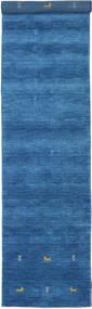 Gabbeh Loom Two Lines - Niebieski Dywan 80X350 Nowoczesny Chodnik Niebieski/Ciemnoniebieski (Wełna, Indie)