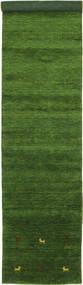 Gabbeh Loom Two Lines - Zielony Dywan 80X450 Nowoczesny Chodnik Ciemnozielony (Wełna, Indie)