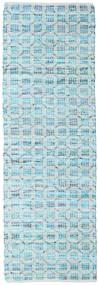 Elna - Bright_Blue Dywan 80X250 Nowoczesny Tkany Ręcznie Chodnik Jasnoniebieski/Turkusowy Niebieski (Bawełna, Indie)