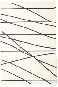 Cross Lines - Kość Słoniowa/Czarny Dywan 200X300 Nowoczesny Tkany Ręcznie Beżowy/Biały/Creme (Wełna, Indie)