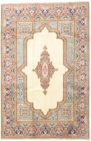 Kerman Dywan 200X303 Orientalny Tkany Ręcznie Beżowy/Ciemnobrązowy (Wełna, Persja/Iran)