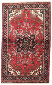 Heriz Dywan 87X145 Orientalny Tkany Ręcznie Ciemnoczerwony/Ciemnobrązowy (Wełna, Persja/Iran)