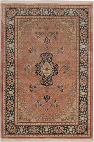 Kom Jedwab Dywan 99X149 Orientalny Tkany Ręcznie Ciemnoczerwony/Jasnobrązowy (Jedwab, Persja/Iran)