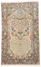 Kerman Dywan 90X146 Orientalny Tkany Ręcznie Beżowy/Ciemnobeżowy (Wełna, Persja/Iran)