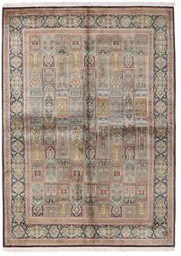 Kaszmir Czysty Jedwab Dywan 155X214 Orientalny Tkany Ręcznie Jasnoszary/Brązowy (Jedwab, Indie)