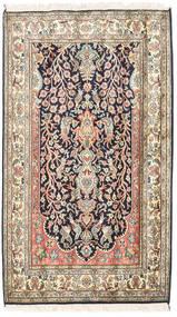 Kaszmir Czysty Jedwab Dywan 83X126 Orientalny Tkany Ręcznie Beżowy/Ciemnofioletowy (Jedwab, Indie)