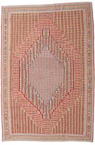 Kilim Senneh Dywan 203X306 Orientalny Tkany Ręcznie Ciemnoczerwony/Jasnobrązowy (Wełna, Persja/Iran)