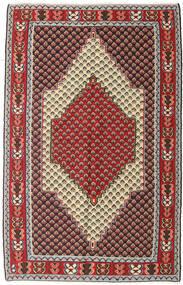 Kilim Senneh Dywan 127X202 Orientalny Tkany Ręcznie Ciemnobrązowy/Ciemnoczerwony (Wełna, Persja/Iran)
