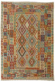 Kilim Afgan Old Style Dywan 206X295 Orientalny Tkany Ręcznie Ciemnoczerwony/Jasnobrązowy (Wełna, Afganistan)