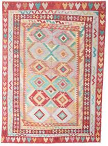 Kilim Afgan Old Style Dywan 204X287 Orientalny Tkany Ręcznie Rdzawy/Czerwony/Beżowy/Jasnoróżowy (Wełna, Afganistan)