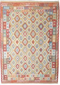 Kilim Afgan Old Style Dywan 206X294 Orientalny Tkany Ręcznie Jasnoszary/Ciemnoczerwony (Wełna, Afganistan)