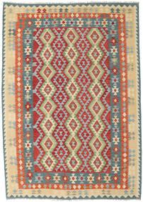 Kilim Afgan Old Style Dywan 211X300 Orientalny Tkany Ręcznie Jasnoszary/Ciemnoczerwony (Wełna, Afganistan)