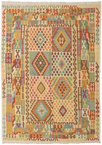 Kilim Afgan Old Style Dywan 203X289 Orientalny Tkany Ręcznie Ciemnobeżowy/Jasnobrązowy (Wełna, Afganistan)