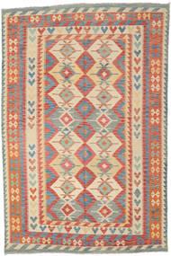 Kilim Afgan Old Style Dywan 204X309 Orientalny Tkany Ręcznie Czerwony/Ciemnobeżowy (Wełna, Afganistan)