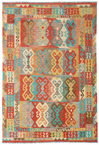 Kilim Afgan Old Style Dywan 204X300 Orientalny Tkany Ręcznie Ciemnobeżowy/Czerwony (Wełna, Afganistan)