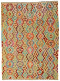 Kilim Afgan Old Style Dywan 215X291 Orientalny Tkany Ręcznie Ciemnoczerwony/Jasnozielony (Wełna, Afganistan)