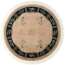 Chińskie 90 Line Dywan Ø 244 Orientalny Tkany Ręcznie Okrągły Jasnobrązowy/Beżowy (Wełna, Chiny)