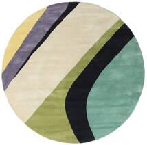 Dynamic Handtufted - Mint Dywan Ø 200 Nowoczesny Okrągły Ciemnobeżowy/Ciemnoszary/Pastel Zielony (Wełna, Indie)