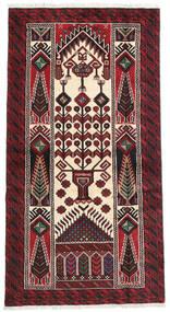 Beludż Dywan 95X175 Orientalny Tkany Ręcznie Ciemnoczerwony/Ciemnobrązowy (Wełna, Persja/Iran)