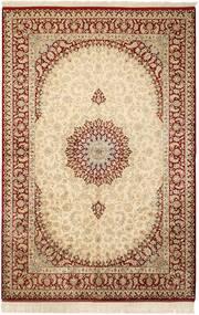 Kom Jedwab Dywan 132X201 Orientalny Tkany Ręcznie Beżowy/Jasnobrązowy (Jedwab, Persja/Iran)