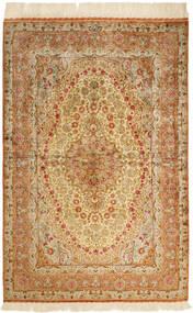 Kom Jedwab Dywan 102X152 Orientalny Tkany Ręcznie Ciemnobeżowy/Jasnobrązowy/Brązowy (Jedwab, Persja/Iran)