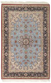 Isfahan Jedwabna Osnowa Dywan 159X246 Orientalny Tkany Ręcznie Jasnoszary/Ciemnobrązowy (Wełna/Jedwab, Persja/Iran)
