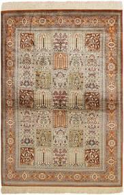 Kom Jedwab Dywan 102X150 Orientalny Tkany Ręcznie Brązowy/Jasnoszary (Jedwab, Persja/Iran)