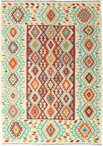 Kilim Afgan Old Style Dywan 205X289 Orientalny Tkany Ręcznie Ciemnobeżowy/Beżowy (Wełna, Afganistan)