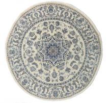 Nain Dywan Ø 200 Orientalny Tkany Ręcznie Okrągły Ciemnobeżowy/Ciemnoszary/Jasnoszary (Wełna, Persja/Iran)