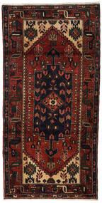 Hamadan Dywan 98X195 Orientalny Tkany Ręcznie Ciemnobrązowy/Ciemnoczerwony (Wełna, Persja/Iran)