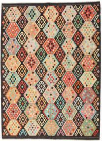 Kilim Afgan Old Style Dywan 216X291 Orientalny Tkany Ręcznie Ciemnobrązowy/Ciemnobeżowy (Wełna, Afganistan)