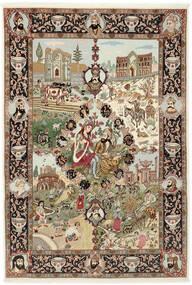 Tebriz 50 Raj Dywan 150X219 Orientalny Tkany Ręcznie Brązowy/Jasnobrązowy (Wełna/Jedwab, Persja/Iran)