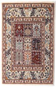 Moud Dywan 76X117 Orientalny Tkany Ręcznie Beżowy/Ciemnobrązowy (Wełna/Jedwab, Persja/Iran)