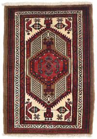 Heriz Dywan 75X118 Orientalny Tkany Ręcznie Ciemnoczerwony/Ciemnobrązowy (Wełna, Persja/Iran)