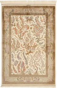 Kom Jedwab Dywan 100X148 Orientalny Tkany Ręcznie Beżowy/Jasnobrązowy (Jedwab, Persja/Iran)