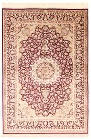 Kom Jedwab Dywan 138X200 Orientalny Tkany Ręcznie Beżowy/Ciemnoczerwony/Ciemnobeżowy (Jedwab, Persja/Iran)