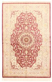 Kom Jedwab Dywan 132X201 Orientalny Tkany Ręcznie Beżowy/Jasnoróżowy (Jedwab, Persja/Iran)
