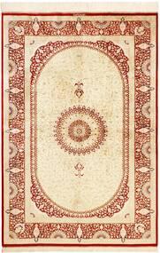 Kom Jedwab Dywan 134X197 Orientalny Tkany Ręcznie Beżowy/Czerwony (Jedwab, Persja/Iran)