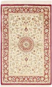 Kom Jedwab Dywan 98X155 Orientalny Tkany Ręcznie Beżowy/Ciemnobeżowy (Jedwab, Persja/Iran)