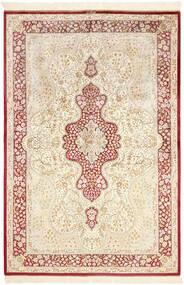 Kom Jedwab Dywan 134X203 Orientalny Tkany Ręcznie Beżowy/Jasnoróżowy (Jedwab, Persja/Iran)
