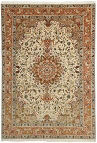 Tebriz 50 Raj Dywan 253X358 Orientalny Tkany Ręcznie Brązowy/Jasnobrązowy/Ciemnobeżowy Duży (Wełna/Jedwab, Persja/Iran)