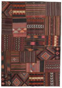 Tekkeh Kilim Dywan 139X201 Nowoczesny Tkany Ręcznie Ciemnobrązowy/Ciemnoczerwony/Czarny (Wełna, Persja/Iran)