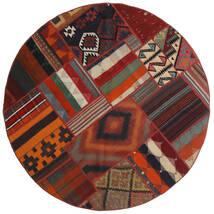 Tekkeh Kilim Dywan Ø 150 Nowoczesny Tkany Ręcznie Okrągły Ciemnoczerwony/Czarny (Wełna, Persja/Iran)