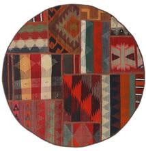 Tekkeh Kilim Dywan Ø 100 Nowoczesny Tkany Ręcznie Okrągły Ciemnoczerwony/Czarny (Wełna, Persja/Iran)